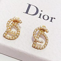 DIOR Fashion Women CD Letter Pearl Earrings Jewelry Accessories