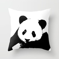 Giant Panda in Black & White Throw Pillow by digitaleffects