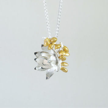 Gold and Silver Floral Necklace / Silver Succulent  / Silver Blossom Charm