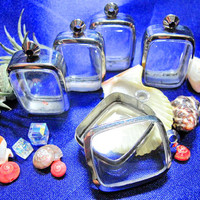 Medium Cushion Shape Pendant Cases,Set of 5 ,Supply, Reliquaries, Pendants, Clear Locket, Necklace Containers, Art,Craft