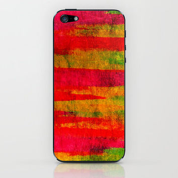 FIERCE - Intense Wild Nature Masculine Stripes Abstract Watercolor Painting Design Urban Fine Art iPhone & iPod Skin by EbiEmporium