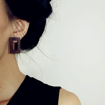 Trendy Graceful Handmade Women Brown Hollow Out Rectangle Natural Wood Stud Earrings