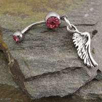 Belly Button Ring Silver Feather Angel Wing by MidnightsMojo