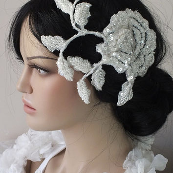ivory lace headpiece boho headpiece boho wedding floral rose headband bridal headpiece bridal hairpiece hair