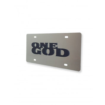 ONE GOD 3D Christian Religious black on mirrored acrylic car license plate tag