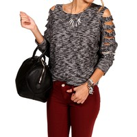 Black Caged Sleeves Sweatshirt