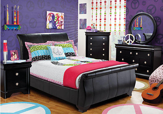 Miranda black 5 pc full bedroom from rooms to go things for Rooms to ho kids