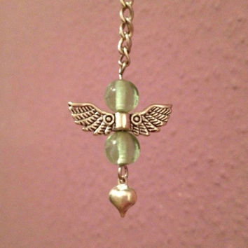 Guardian Angel Necklace, green, wing necklace heart necklace