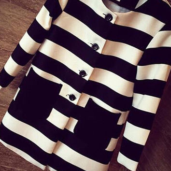 Black and White Buttoned Double Pocket Striped Coat