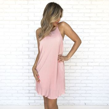 Pretty Pleats Shift Dress in Pink