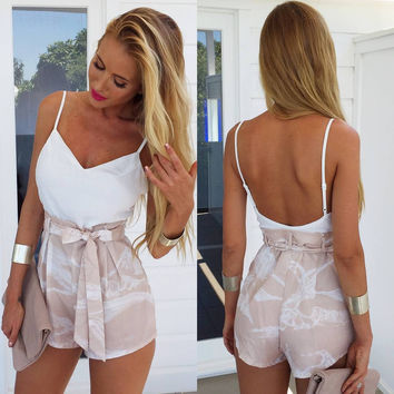 Summer White Backless Spaghetti Strap Tops Print Shorts Waistband Bottom & Top [4919901892]