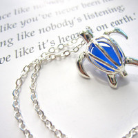 Royal Blue Sea Glass in Sea Turtle Locket Necklace