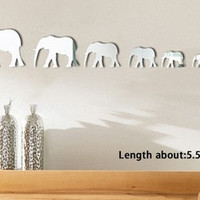 7 Elephants Mirror Wall Stickers Color Silver New Home 3D Decoration Wall Stickers Environmental Removable HG-WS-1738 [8424506055]