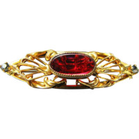 Victorian 10K Gold-wash Bar Pin with Red Glass Cabochon / Old repair to pin