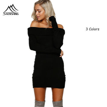 Women winter sweater dress New style Off shoulder elastic long white lapel pullover sexy jumpers Autumn robe pull femme hiver