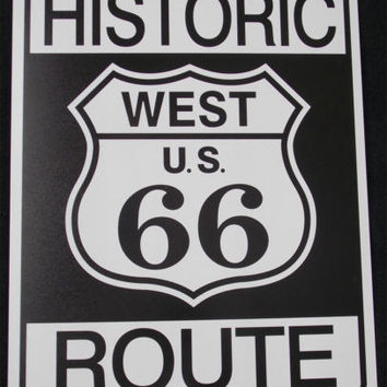Historic Route 66 West US Tin Sign Garage Bar Wall Decor 12.5 x 16 Man Cave NEW