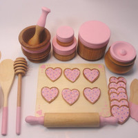 Kids Baking Set, Wood toy bake set, Play food - Over 25 Piece Set - Pink