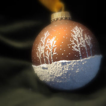 Reminds Me of Hot Cocoa with Marshmellow Topping, Brown Hand Painted Glass Christmas Ball Ornament - Aspen Snow Scene Great Gift
