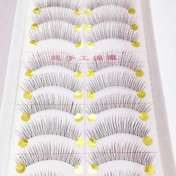 Pretty Long False Eyelashes 10 Pairs Makeup Natural Fake Thick Eye Lashes Black Nautral Handmade Beauty Tools