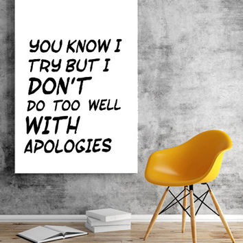 Justin Bieber quote, song lyric art, Purpose album Sorry Lyrics Print lyrics dorm decor song quotes Watercolor quote print INSTANT DOWNLOAD