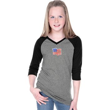 Buy Cool Shirts Waving USA Flag Patch Small Print Girls V-Neck Raglan Shirt