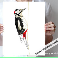 Woodpecker art print JPG digital file
