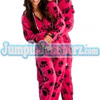 Hot Paws - Hooded Footed Pajamas - Pajamas Footie PJs Onesuits One Piece Adult Pajamas - JumpinJammerz.com