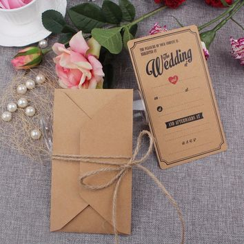 50pcs Brown Elegant Wedding Invitation Cards Kraft Paper Greeting Cards 18x10cm Post Card with Envelopes Event Party Supplies