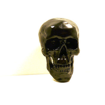 black skull head, skulls, macabre, goth, home decor, skull art, steampunk, tribal decor, anatomy, modern
