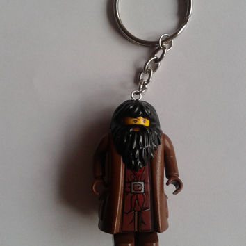 Harry Potter Hagrid  minifigure keychain keyring  made with LEGO® bricks
