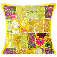 """16"""" Yellow Pillow Cushion Throw Cover with Patchwork Embroidered"""