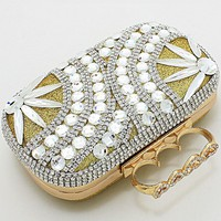 Gold Paradise Clutch with a 3 Finger Handle