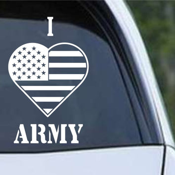 I Heart Flag Army Patriotic (HRO147) Die Cut Vinyl Decal Sticker
