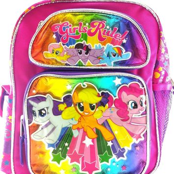 "Hasbro My Little Pony Girls 12"" Canvas Pink & Purple School Backpack Girls Rule!"