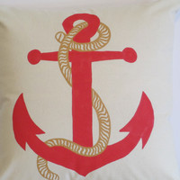 "Pillow Cover 18"" - Handpainted Red Nautical Anchor Design"