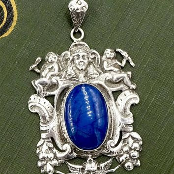 Antique CINI STERLING Pendant Guglielmo Cini Boston Sterling Silver Sodalite Cherubs Devil Pendant