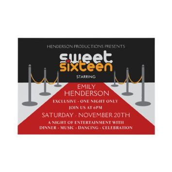 Red Carpet Sweet Sixteen Personalized Invitations from Zazzle.com