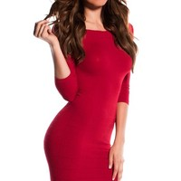 Amara Red 34 Sleeve Off Shoulder Bodycon Mini Dress