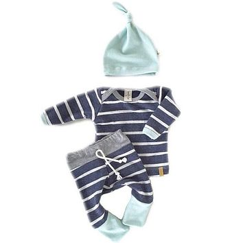 Abacaxi Kids Baby Boy 3pcs Set Newborn Infant Striped Outfit