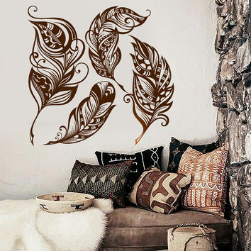 Wall Vinyl Decal Feather Romantic Dream Catcher Bedroom Decor z3911