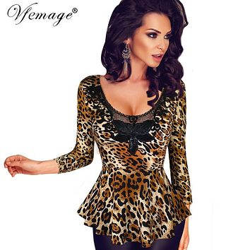 Vfemage Womens Sexy Leopard Crochet Lace Embroidered Leather Flower Slim Tunic Casual Party Club Clubwear Blouse Tops 4780