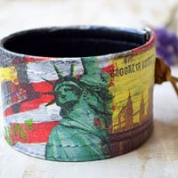 Mens leather cuff bracelet New York USA gift