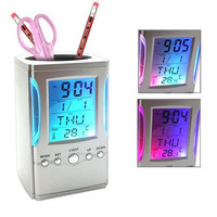 Colorful LCD Display Electronic Digital Desk Table Calendar Thermometer Alarm Clock Pen Pencil Holder