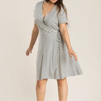 Plus Evie Stripe Wrap Dress
