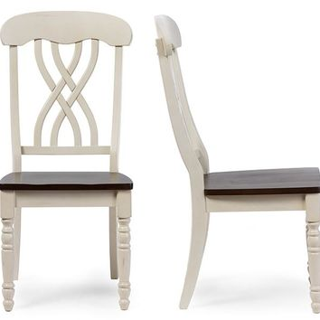 Baxton Studio Newman Chic Country Cottage Antique Oak Wood and Distressed White Dining Side Chair Set of 2