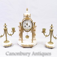 Canonbury - Empire Mantle Clock Garniture Set - Marble Ormolu Candelabras