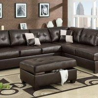 F7358 - Contemporary Style Espresso Sectional Sofa - Furniture2Go