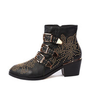 Top-Lined Susanna Studded Leather Buckle Ankle Boot