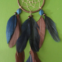 Dream Catcher - Brown and Blue - Small - Modern