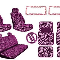 New Premium Style Pink Zebra 17pc Low Back Front Seat Covers with Head Rest, Bench Seat Cover with Head Rest, Steering Wheel Cover with Shoulder Pads, 4pc Front and Back Floor Mats & 2 License Plate Frames